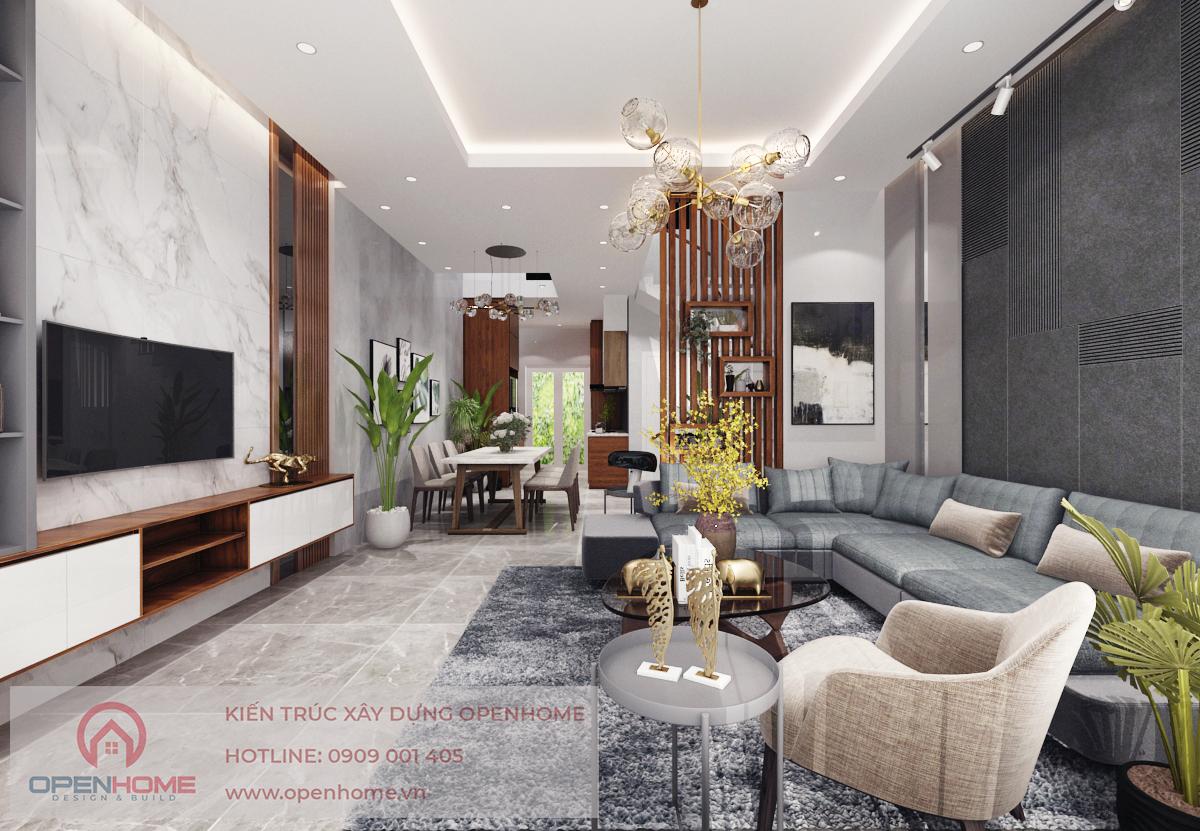 Thiết kế phòng khách Nhà Phố 3 tầng