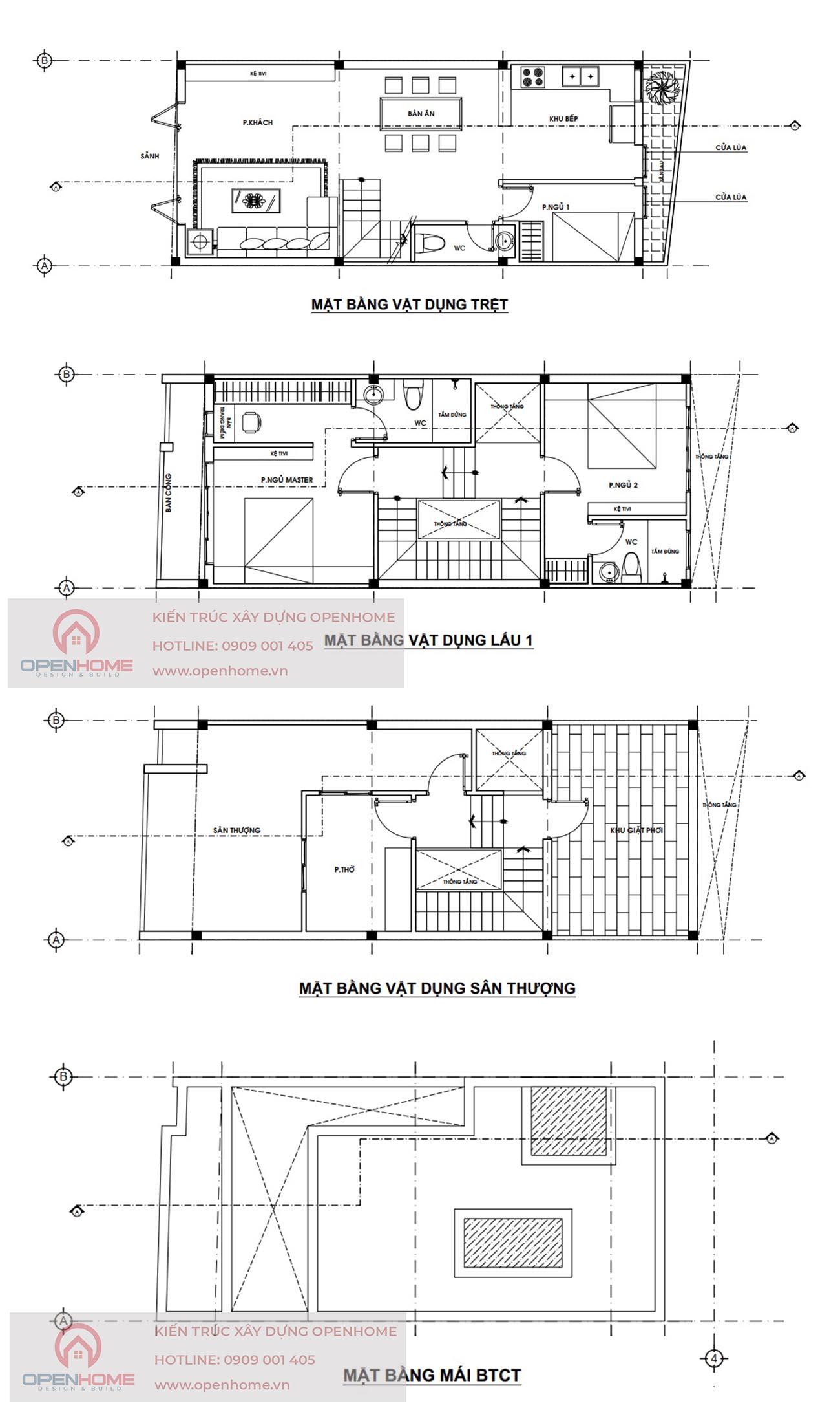 bản vẽ nhà phố 3 tầng Thủ Dầu Một