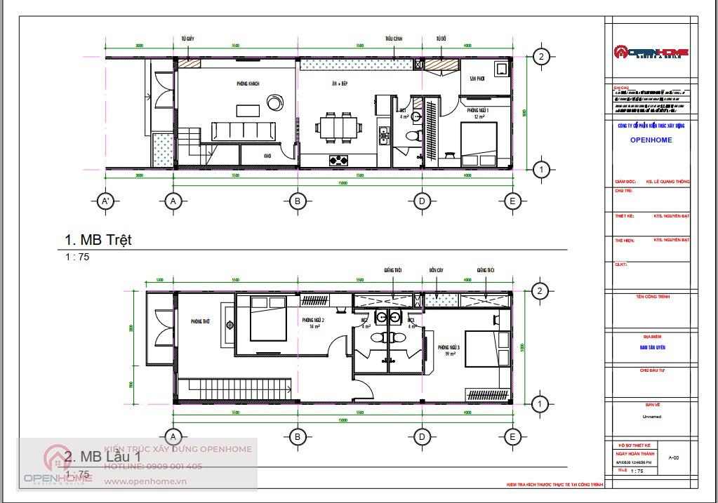 bản vẽ mặt bằng nhà phố 2 tầng hiện đại 5x16m tại tân uyên bình dương